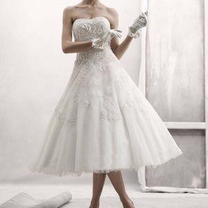 Oleg Cassini tea length wedding dress tulle